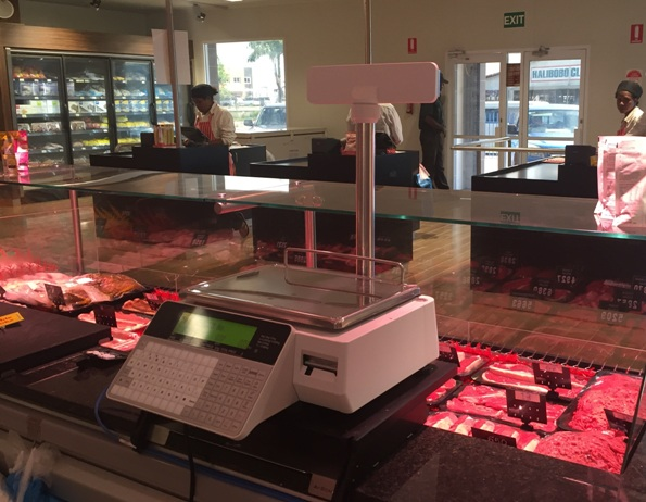 Cash Register Receipt and Label Printing Scale - Alpha 2 Line Display - Pole - Installed at Madang Butchery, PNG